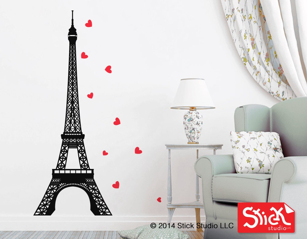 eiffel tower decal gold metallic hearts decal eiffel tower. Black Bedroom Furniture Sets. Home Design Ideas