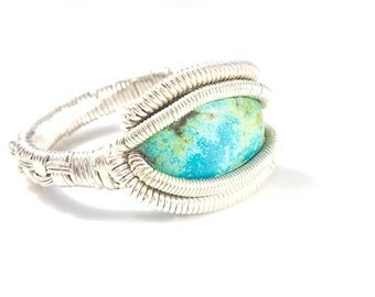 Turquoise heady Wire Wrap Ring Size 10.5 , Turquoise ring