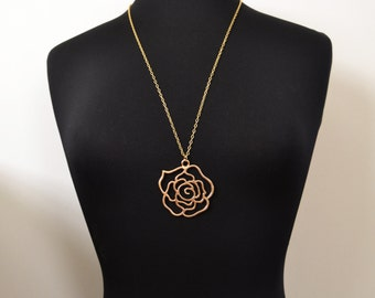 28 Inch Gold Statement Necklace, Long Gold Pendant Necklace, Elegant Rose Necklace  14kt Gold Filled, Bold, Trendy, Vogue