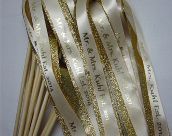 100 Personalize Glitter Wedding Wands Double streamer with Bells.Ribbons and/or lace your choice of color. Sendoff. Ceremony. Birthday.
