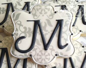 Monogram Cookies Elegant Wedding Anniversary Engagement Party Baptism Christening Milestone Birthday