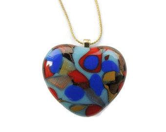 fused glass necklace,heart glass pendant necklace,red blue fused heart necklace,red  fused glass heart pendant,painted fused glass pendant
