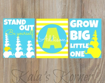 nursery art- elephant,  yellow turquoise, stand out, grow big, playroom art, children wall art, baby name, elephant art, elephant nursery