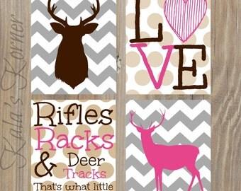 Girl Nursery Art - Chevron Nursery Prints - Deer Nursery - Nursery Decor - Playroom Art - Kids Wall Art - Deer Art - Pink Nursery