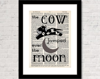 Cow Jumped Over The Moon - Nursery Rhyme - Nursery Art -  Dictionary Art Print