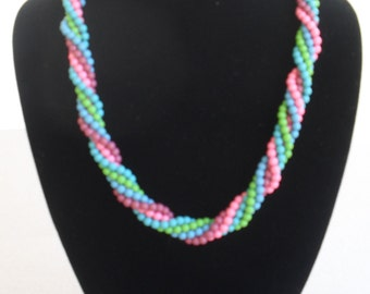 Candy Colored Beaded Necklace, Vintage