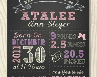 Birth Announcement Chalkboard Sign