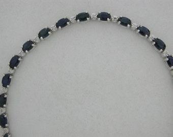 Natural Sapphire Diamond Bracelet 14kt White  Gold
