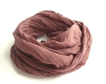 Brown Cotton Scarf, Lightweight Cotton Gauze Scarf, Auburn, Mens Brown Scarf, Fall Autumn, Mahogany, Minimalist, Chocolate, Rustic Woodland
