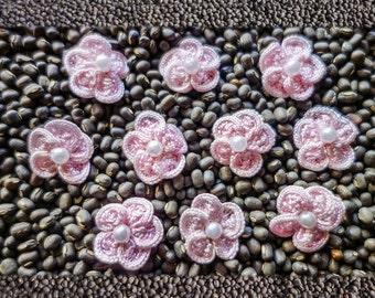 Small Woven Pink Ribbon Flowers with Pearl Centers