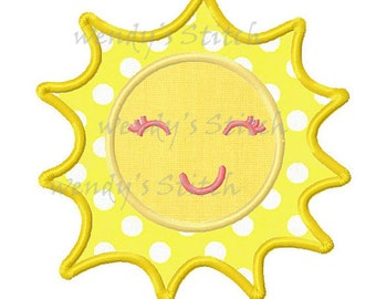 Sun sunshine applique machine embroidery design