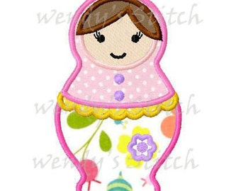 Russian doll applique machine embroidery design digital pattern instant download