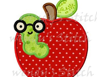 apple bookworm applique machine embroidery design instant download