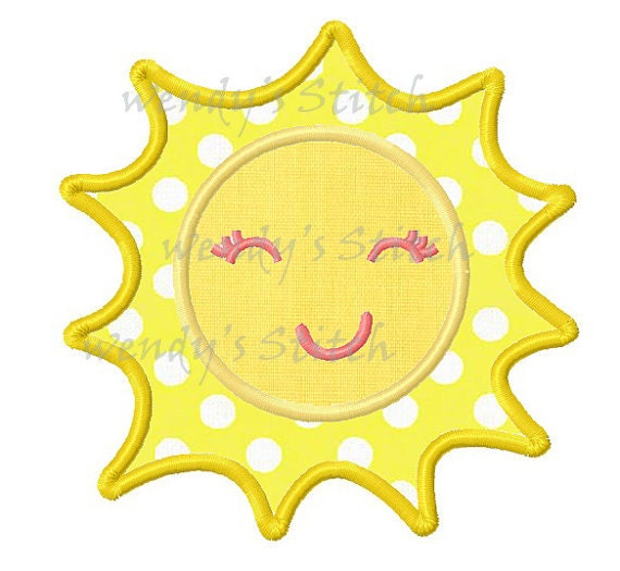 Sun sunshine applique machine embroidery design from