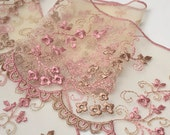 "3-1/4"" Flower Embroidered tulle lace Trim by 1 Yard, Mauve/Taupe, Light Pink/Beige, STEP-3801"