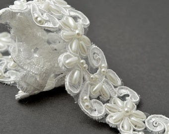 Pearl Beaded Flower Ribbon Lace Trim, Bridal Lace, 1-1/2 Inch by 1 Yard, White, TR-10908
