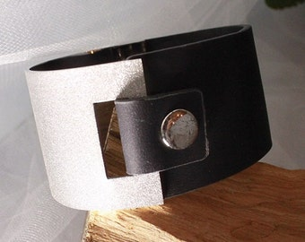 Fabulous LEATHER and anodized STAINLESS Steel Cuff,Like HERMES.