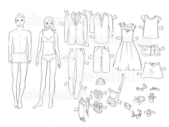 paper doll template woman - items similar to coloring paper doll man and woman sheet