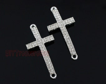 3PCS--Cross charms,Silver Plated Rhinestone Sideways Cross Charm Bracelet Connector / pendants 51x23mm