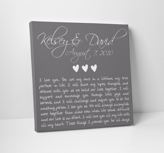 Wedding Gifts For Vow Renewal : Wedding Gift, Anniversary, Wedding Vows on Canvas, Valentines Day ...