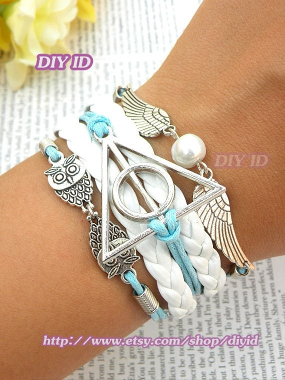 SALE Harry potter bracelet Silver harry potter angel wings owls white leather blue wax rope white bead bracelet multilayer bracelet B83