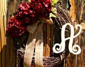Burgundy Hydrangea Wreath with Vine Monogram - Monogrammed Wreath - Vine Script Monogram - Initial Wreath - Wreaths - Year Round Wreath