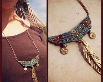 Pocahontas collection TRIBAL Macrame Necklace ,brass beads, hippie bohemian Gypsy Feather necklace