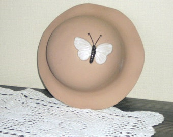 Vintage Swedish Wall Decor made by Gabriel Sweden Wall Decor Scandinavian Design Wall Hanging Ceramic Hat with Butterfly @58