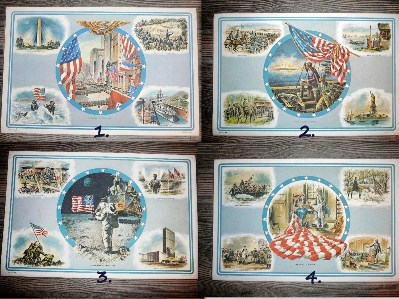 Vintage Patriotic Laminated Posters Usa Patriotic Made In