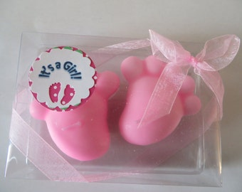 Pink Baby Feet Floating Candles -  unscented - It's a Girl favors, decorations
