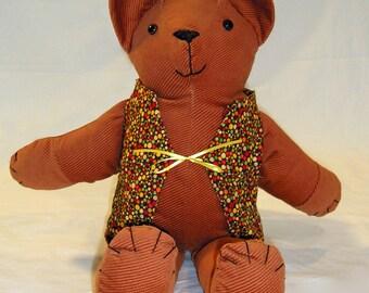 Brown corduroy plush bear