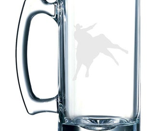 Cowboy silhouette #8 - Gunslinger Rodeo Bull Riding -  26 oz glass mug stein