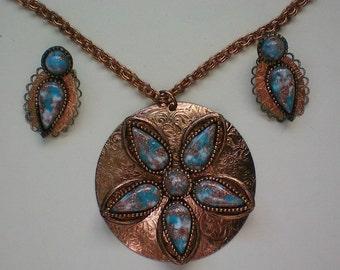 Copper Art Glass Pendant Necklace & Earrings - 2935
