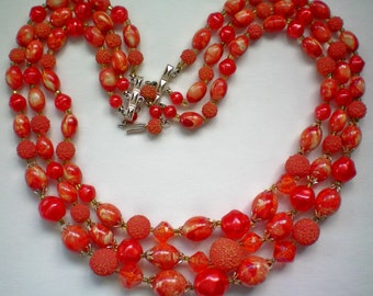 Three Strand Red / Orange Bead Necklace - 2309