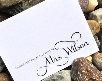 Wedding Bridal Shower Thank You Cards, Thank You From the Future Mrs. Thank You Notes, Wedding Shower, Shower Gift, Set of 12 Cards