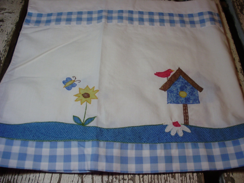 Vintage Blue Gingham Birdhouse Curtains Pair