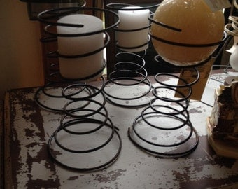 """Very Nice Set pf 2 1920's Furniture Spring Candle Holders Measure 4 1/2"""" x 9-10"""" Holds 2 Sherical Candles (Not Included)"""