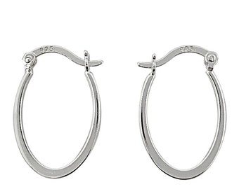 Sterling Silver Flat Polished Oval Hoops with Hinged Closure/Oval Hoops/Polished Hoops/Anti-tarnish Hoops/Hoop Earrings/925 Sterling Silver