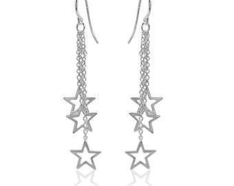 Sterling Silver Star Dangles/Triple Chain Drop Star Earrings/Anti-Tarnish/Celestial Earrings/.925 Sterling Silver/Star Earrings/Star Jewelry