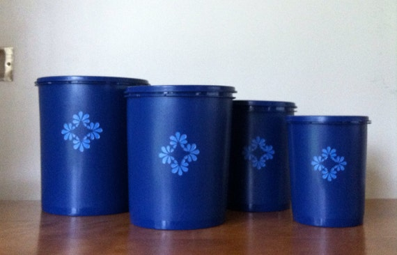 tupperware cobalt blue kitchen canister set of 4 retro cobalt blue glass canisters