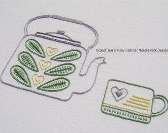 Scandi Tea modern Scandinavian hand embroidery pattern - modern embroidery PDF pattern, digital download