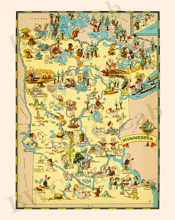 Pictorial Map of Minnesota colorful fun illustration by FunMaps – Minnesota Tourist Attractions Map