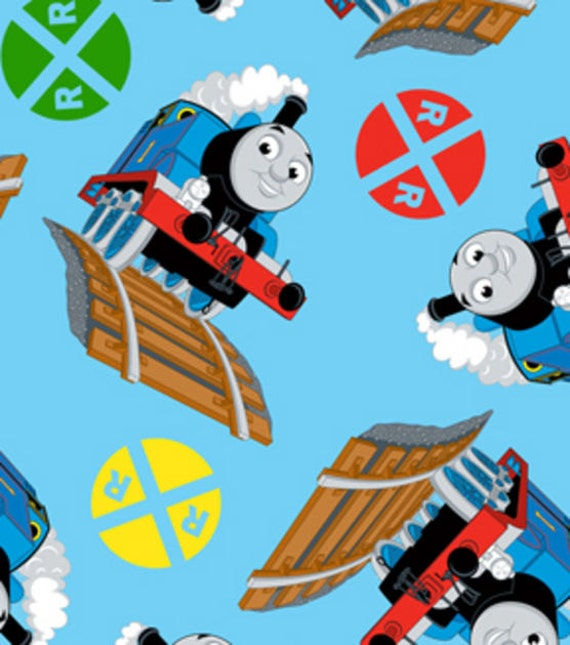 Items similar to thomas the train fleece fabric by the for Kids train fabric