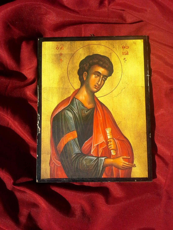 Saint Thomas the Apostle, Wooden Icon Print, Christian Orthodox Wall ...
