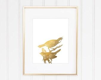 Bird Art Print, Faux Gold Foil, Faux Gold Leaf Art, Nature Print, Bird Wall Art, Office Decor, Home Decor, Minimalist Art,  Art, Framed