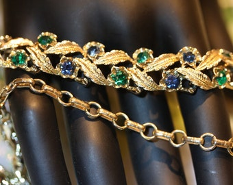 Feminine Vintage Coro Green and Blue Faceted Crystal Choker