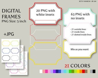 Digital frames clip art in 21 colors PNG and JPGs, Digital frame clipart  - BR 280