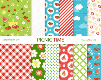 Picnic Digital Paper Pack, picnic digital papers, summer, strawberry, cherries, watermelon, instant download - BR 345