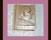 "1960's Vintage Rosary Box  Pope Paul VI in relief of this book shaped box  Italy Silver Plated  Back. Pope seal  2 1/2"" X 2""  tight closer"