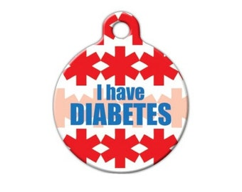 I Have Diabetes Personalized Engraved Pet ID Tag - Diabetic Dog or Cat Tag - Pet Medical Alert Tag